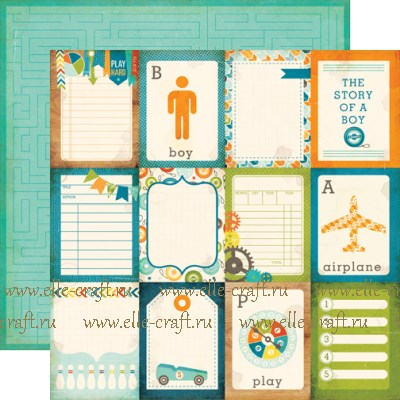 Бумага Journaling Cards 7,5х10 см, коллекция All About A Boy
