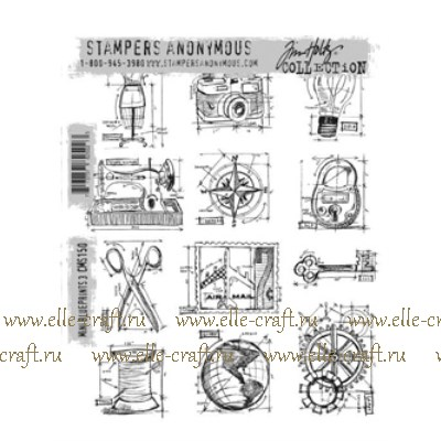 Набор штампов Tim Holtz by Stampers Anonymous - Mini Blueprints 3