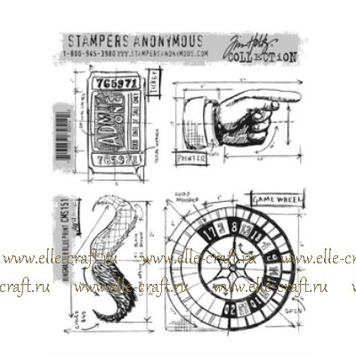 Набор штампов Tim Holtz by Stampers Anonymous - Ringmaster Blueprint