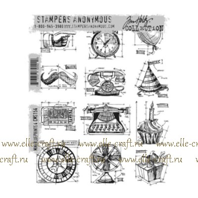 Набор штампов Tim Holtz by Stampers Anonymous - Mini Blueprints 4